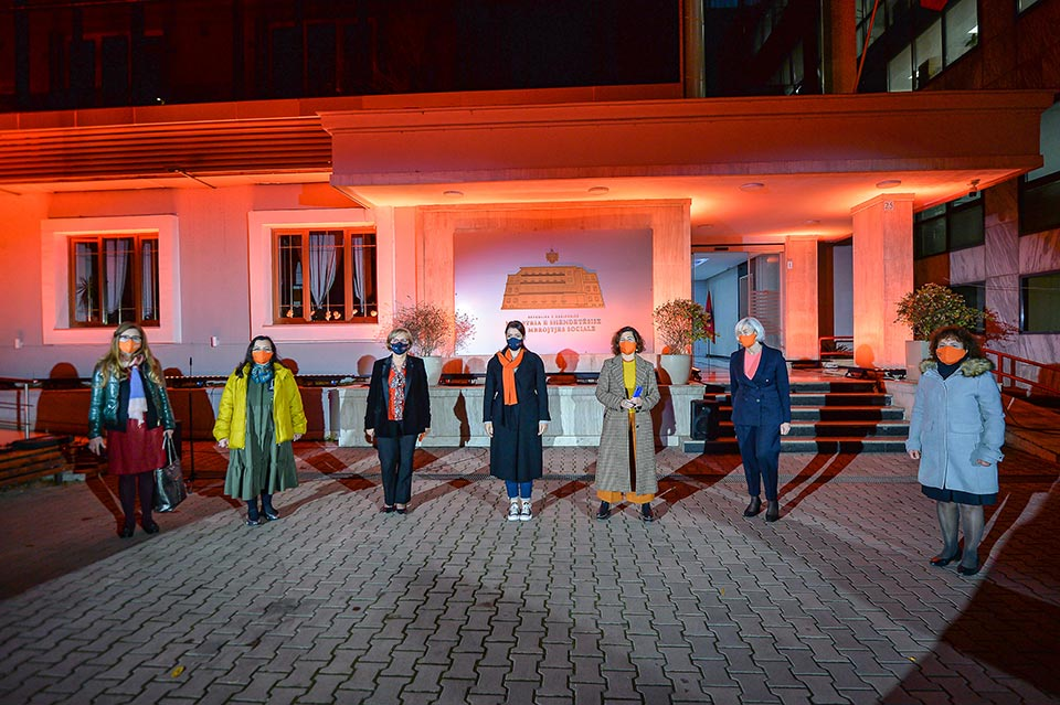 Ministry of Health and Social Protection of Albania, lit in orange at the opening of the 16 Days of Activism. Photo: UN Women Albania/Eduard Pagria