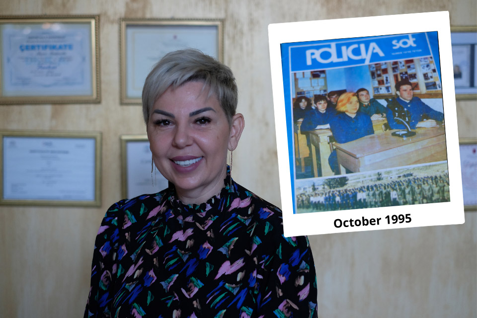 Periana Bodinaku at her notary office in Tirana, Albania. Photo: UN Women/Yllka Parllaku. Small photo: Periana Bodinaku, a second year student at the front page of Police Magazine in 1995.
