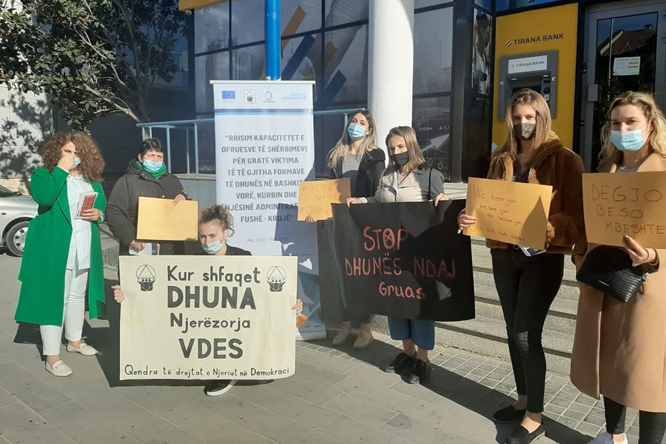 Activists from civil society in Kamza, Albania, join the 16 days campaign. Photo: Human Rights in Democracy Center