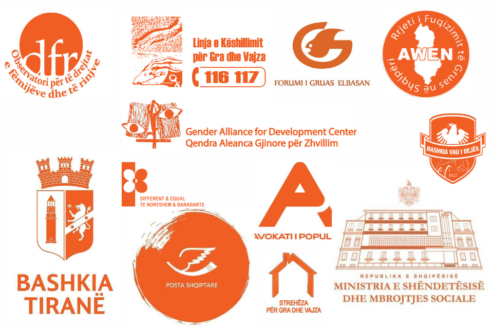Logos of some of the institutions and civil society organizations that turned their logos in orange during the 16 Days of Activism