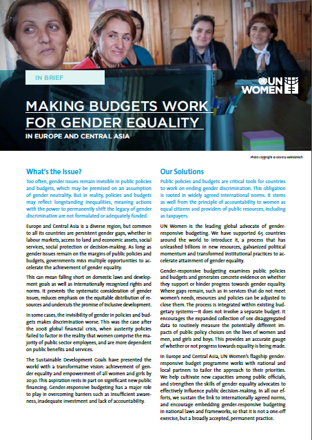 Making budgets work for gender equality in Europe and Central Asia