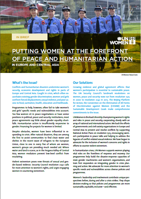 Putting women at the forefront of peace and humanitarian action in Europe and Central Asia