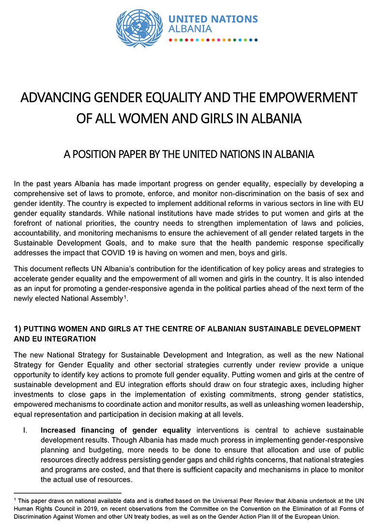 Advancing Gender Equality and the Empowerment of all Women and Girls in Albania - A position paper by the United Nations in Albania