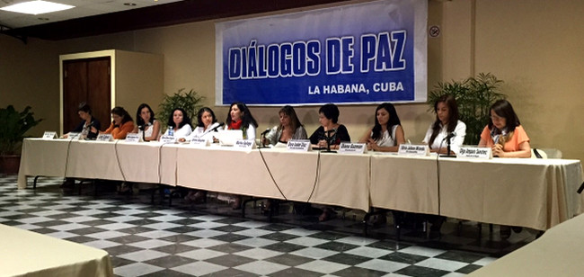 Representatives of women's organizations and research centers visit the Conversation Table in Havana