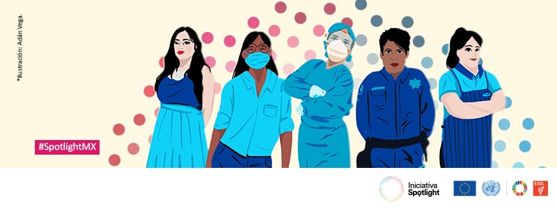 Illustrations of women on the front lines of COVID response in Mexico.