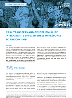 Cash Transfers and Gender Equality: Improving its effectiveness in response to the COVID-19