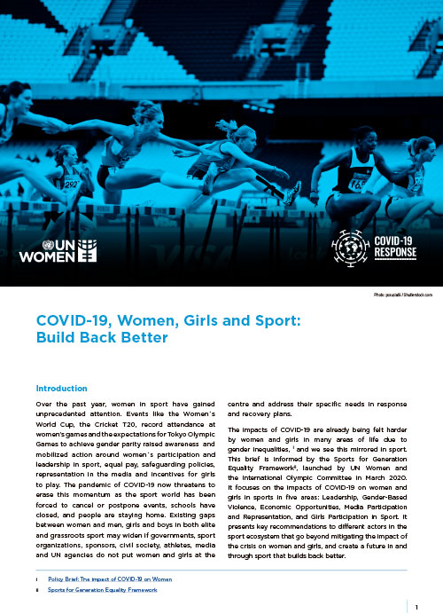 COVID-19, Women, Girls and Sport: Build Back Better