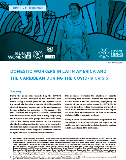 Domestic workers in Latin America and the Caribbean during the COVID-19 crisis