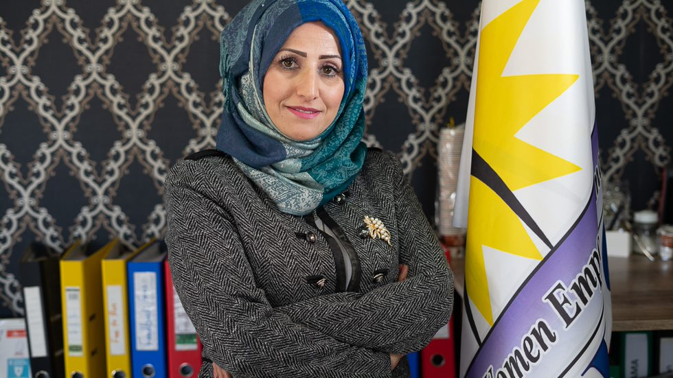 """In the words of Madina Mousa: """"I could not stay idle in the face of hardship, I became a Protection Specialist empowering other Syrian refugee women and girls."""""""