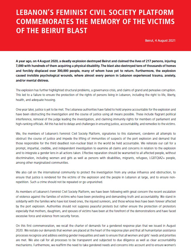 Charter of Demands by Feminist Activists and Women's Rights Organisations in Lebanon: A Gendered Disaster Response Plan