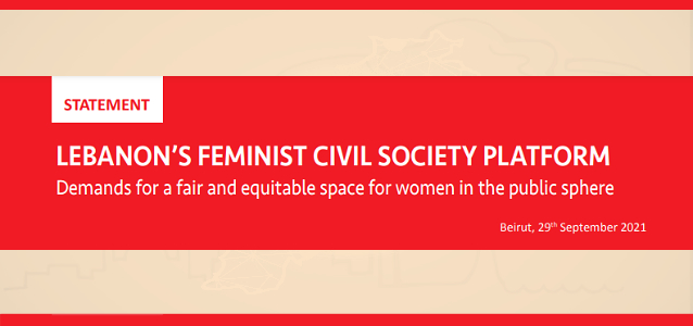 Lebanon's Feminist Civil Society Platform Commemorates calls for ensuring a fair and equitable space for women in the political sphere