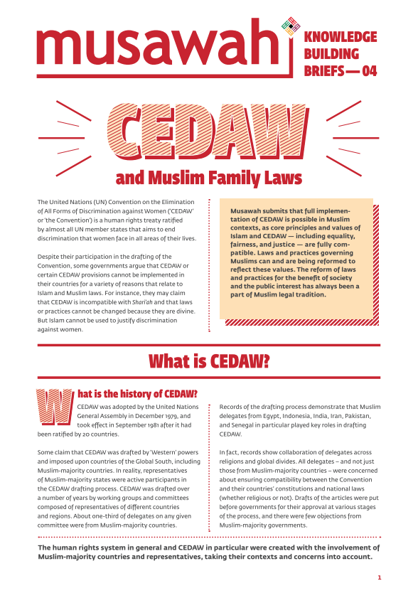 4th Issue Brief: CEDAW and Muslim Family Laws