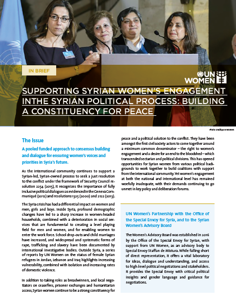 Supporting Syrian Women's Engagement in the Syrian Political Process: Building a Constituency for Peace