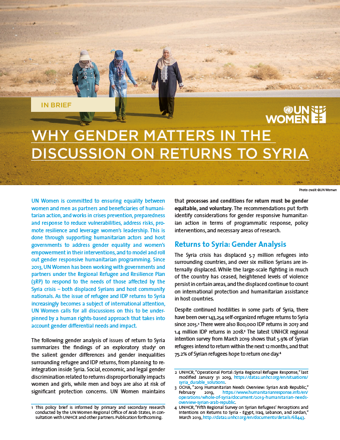 Why Gender Matters in the Discussion on Returns to Syria