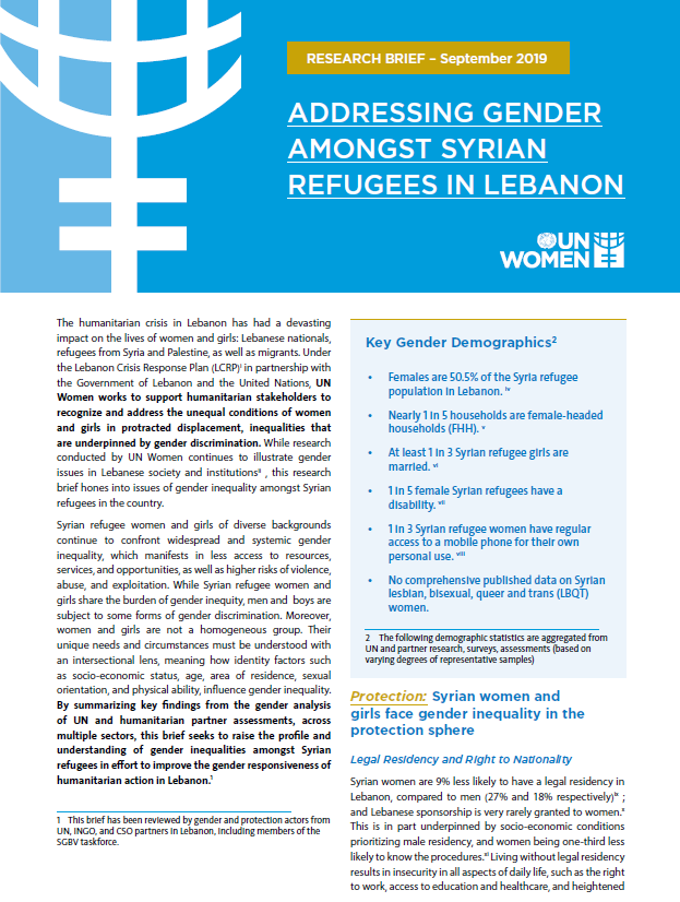 Addressing Gender Amongst Syrian Refugees in Lebanon