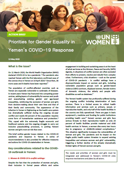 Priorities for Gender Equality in Yemen's COVID-19 Response