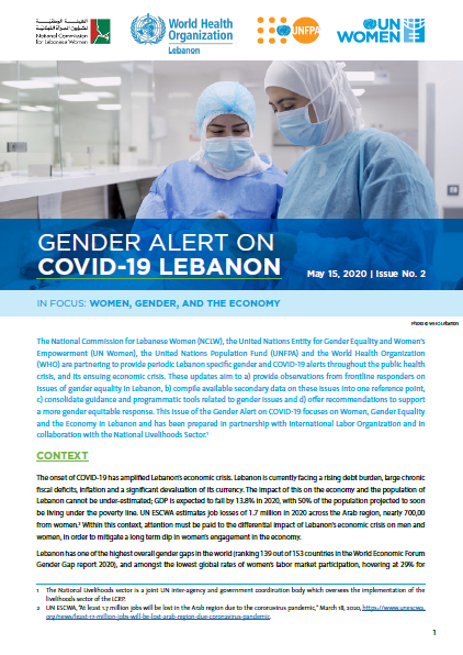 Gender Alert on COVID-19 Lebanon — In Focus: Women, Gender Equality, and the Economy