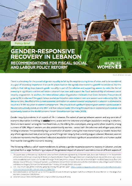 Gender-Responsive Recovery in Lebanon: Recommendations for Fiscal, Social and Labour Policy Reform