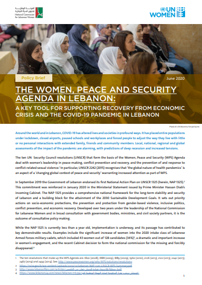 The Women, Peace and Security Agenda in Lebanon: A Key Tool for Supporting Recovery from Economic Crisis and the COVID-19 Pandemic in Lebanon