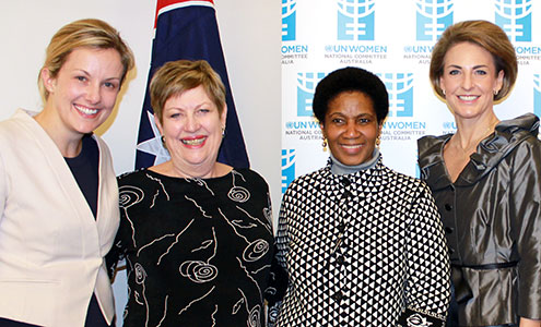 Attending the Beijing+20 Australia launch (left to right) were: Julie McKay, Executive Director, Australian National Committee for UN Women; Donelle Wheeler, President, Australian National Committee for UN Women; Phumzile Mlambo-Ngcuka, Executive Director of UN Women; Senator Michaelia Cash, Minister Assisting the Prime Minister for Women. Photo: Australian National Committee for UN Women.