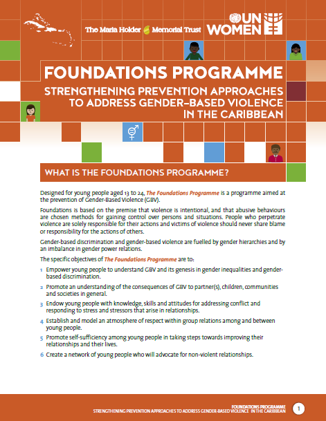 Foundations Programme – Strengthening Prevention Approaches To Address Gender-Based Violence In the Caribbean Brochure