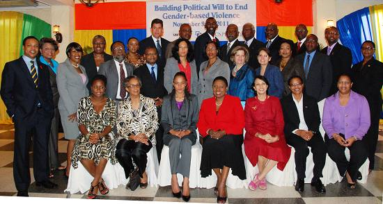 Photo/UN Women: (centre) Jamaicas Minister of Youth, Sports and Culture, the Honourable Olivia Grange, and (3rd from right) Director UNFPA Sub Regional Office for the Caribbean, Ms. Geeta Sethi with regional Parliamentarians, other representatives of UN agencies, governmental departments and partner organisations at the November 8-9 Regional Consultation of Parliamentarians on gender-based violence prevention in Jamaica.