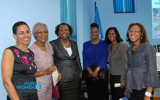 """""""UN WOMEN RPD Roberta Clarke, UNIFEM Caribbean Office first RPD Professor Joycelin Massiah, Madam Justice Jacqueline Cornelius; Senator Irene Sandiford-Garner - Parliamentary Secretary in the Ministry of Health and Barbados Representative to CIM; Dr. The Honourable Esther Byer-Suckoo, Minister of Labour Barbados and Ms. Michelle Gyles-McDonnough Resident Coordinator Barbados and the Eastern Caribbean and UNDP Resident Representative Barbados and the Eastern Caribbean."""