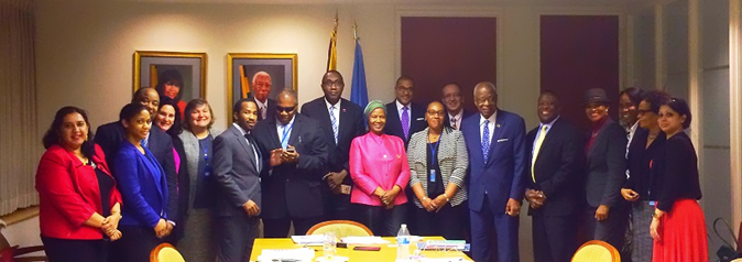 UN Women Executive Director Phumzile Mlambo-Ngcuka, UN Women Director of the Programme Division, Maria Noel Vaeza and UN Women MCO Caribbean Representative Christine Arab with the CARICOM Permanent Representatives to the United Nations and Permanent Mission