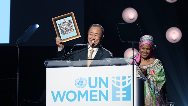 UN Secretary-General Ban Ki-moon and UN Women Executive Director, Phumzile Mlambo-Ngcuka