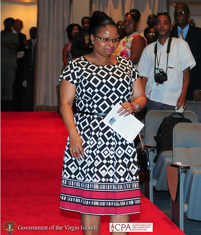 The Honourable Volda Lawrence, Minister of Social Protection Guyana at the 40th Conference of the Commonwealth Parliamentary Conference in BVI. Photo compliments GIS/BVI