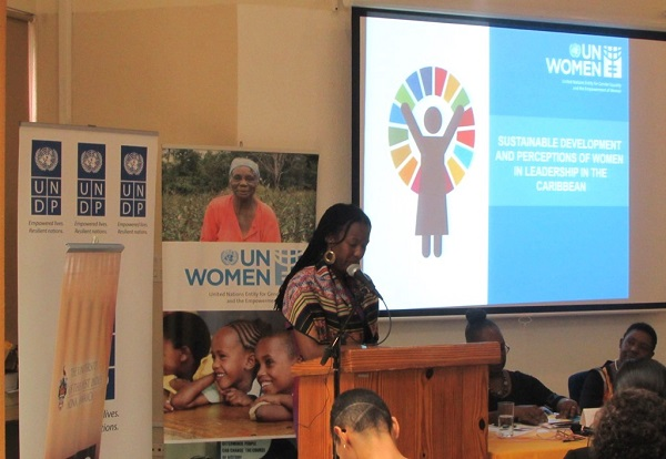 UN Women Deputy Representative Tonni Brodber presenting to the UNDP/UN Women panel discussion on Planet 50:50 by 2030- Women's Political Participation in Jamaica on IWD