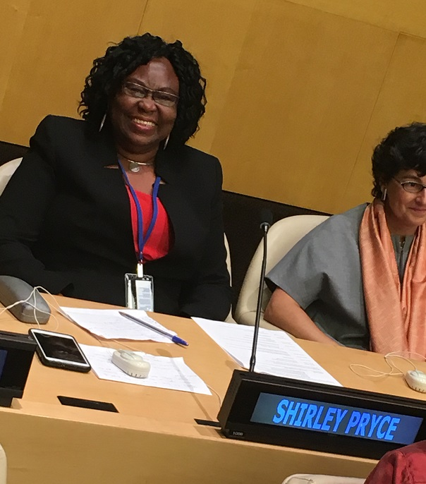 Ms Shirley Pryce (left) a staunch advocate for women's empowerment and women's empowerment and the rights of domestic workers in Jamaica.