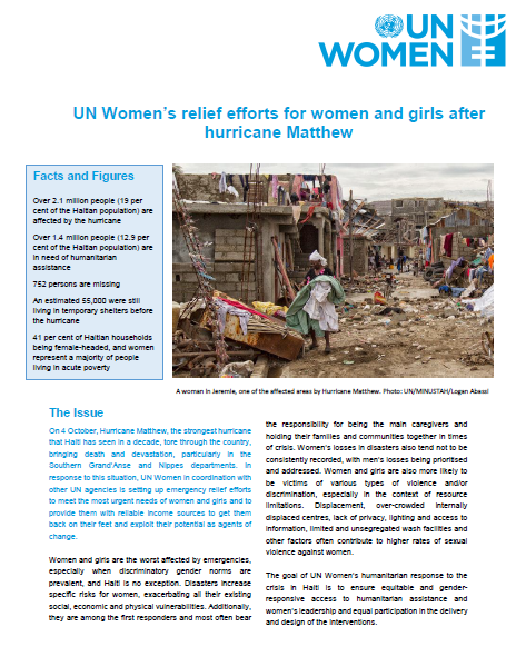 UN Women's relief efforts for women and girls after hurricane Matthew - Fact Sheet