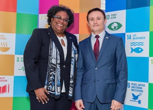 PM Mottley and UN Res. Coordinator Didier Trebucq