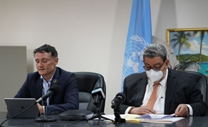 Resident Coordinator Didier Trebucq and Prime Minister Ralph Gonsalves during today's Fund Appeal Launch