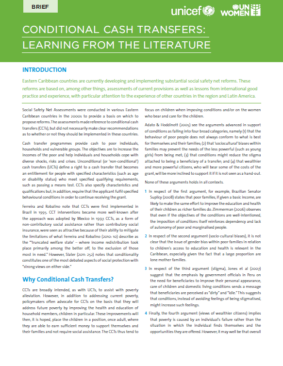 Conditional Cash Transfers: Learning From The Literature: A Policy Brief