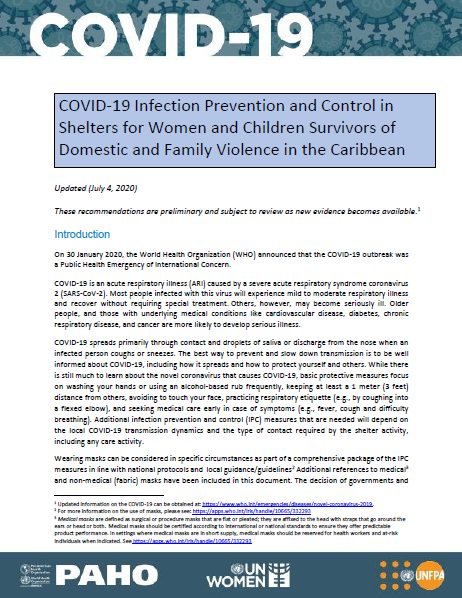 Cover Image: COVID-19 Infection Prevention and Control in Shelters for Women and Children Survivors of Domestic and Family Violence in the Caribbean, 4 June 2020