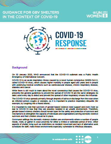 Guidance For GBV Shelters in the context of COVID-19