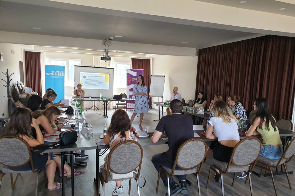 """UN Women trainings aimed at improving knowledge and skills of media workers on gender-based violence, legislative framework in prevention of gender-based violence, but also on sexual trauma, approach to women victims of violence and examples of good and bad practice in media reporting.""""  Photo credit: UN Women"""