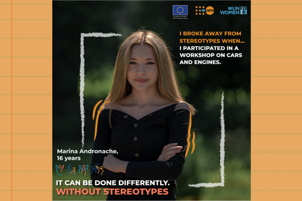 """""""I broke away from stereotypes when I participated in a workshop on cars and engines."""" Marina Andronache, 16. Photo: Personal Archive"""