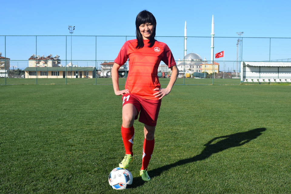 Begaim Kirgizbaeva,football player. Photo: Madina Shoikina