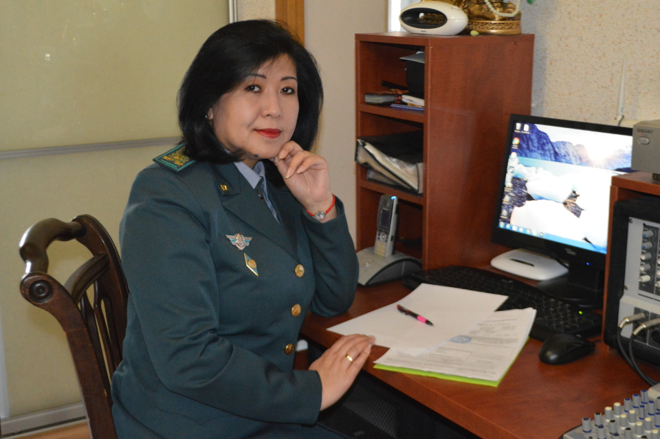 Gulzhanat Chindaliyeva, border guard. Photo: Gulnaz Imamniyazova
