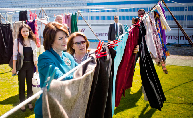 "President of Kosovo Atifete Jahjaga donated a dress to the ""Thinking of You"" art installation."