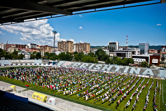 Dressing up a soccer stadium for survivors in Kosovo