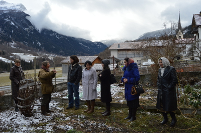 "Donata Clopath, the self-declared feminist Swiss agronomist, hosting the Tajik delegation and showing them her cow farm in Donat in the district of Graubünden: ""Although we act in different settings, our goal is the same: We strengthen women's rights, which we see as a key condition for a well-functioning society"". Photo: UN Women/ Martina Schlapbach"