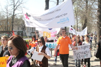 Gender equality champions march for women's rights in Kyrgyzstan