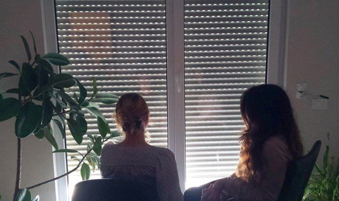 """A survivor of trafficking receiving counselling at a shelter in Tirana, Albania. Photo: NGO """"Different and Equal"""""""