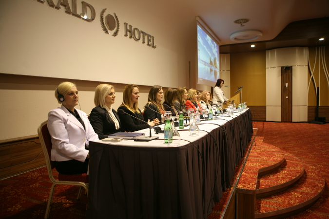 The 12 board members of the Association of Women in the Kosovo Police at the annual assembly meeting on February 10, 2016. Photo credit: AWKP/Teuta Bajgora Jasiqi