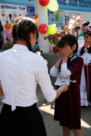 Short performance on early marriage, where an underage girl is forced to get married to a son of a rich family. Photo: UNCT Kyrgyzstan