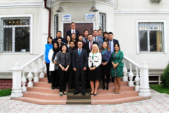 Representatives of the UN Women Executive Board with UN Women personnel after being briefed on UN Women Kyrgyzstan's work. Photo: UN Women Kyrgyzstan